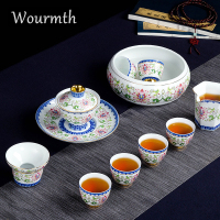 China Jingdezhen porcelain 12 pieces enamel Ceramic Tea set gift set High huality cover bowl tea cup Full set Exquisite gift