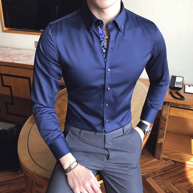 Heren Slim Fit Overhemd.2017 Herfst Mannen Revers Lange Mouwen Sociale Slim Fit Overhemd