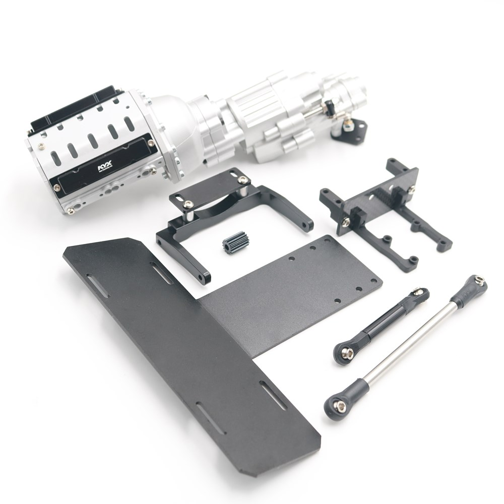 KYX Racing V8 Engine <font><b>Motor</b></font> 2 Speed <font><b>Gearbox</b></font> + Axle Servo Mount + Modified Battery Tray Set for 1/10 <font><b>RC</b></font> Crawler Car Axial SCX10 II image