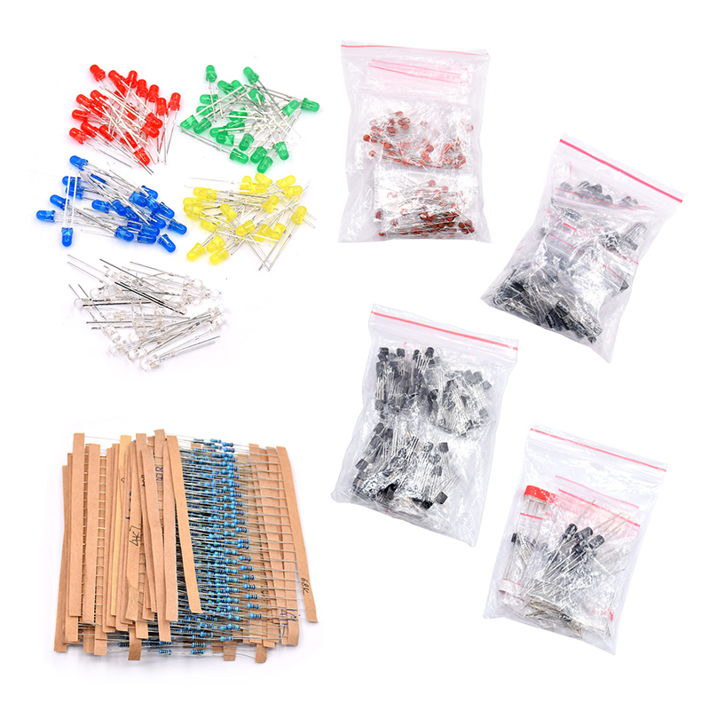 Electronic Components Package +LED Diodes Transistor + Electrolytic Capacitors +Resistance + Ceramic Capacitors 1 470uf semiconductor plug electrolytic capacitors set black 120 pcs
