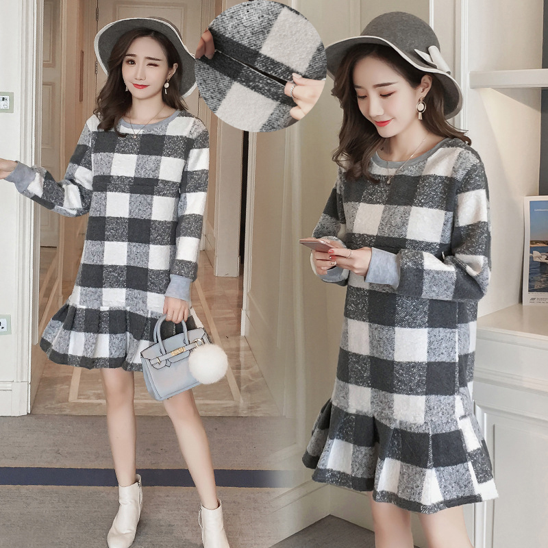 Maternity Nursing Dress Winter Fleece Warm Breastfeeding Plaid Sweatshirt Dresses for Pregnant Women Pregnancy Fashion Clothes недорго, оригинальная цена