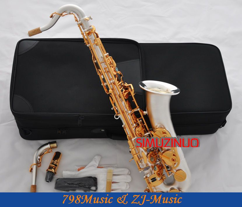 Պրոֆեսիոնալ C Melody Saxophone Satin արծաթափնջի սաքսոուսով Abalone Key + Case