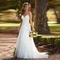 Простые И Дешевые Свадебные Платья 2017 Бретельках Плюс Размер Спинки Кружева Аппликации Свадебное Платье Vestido де noiva