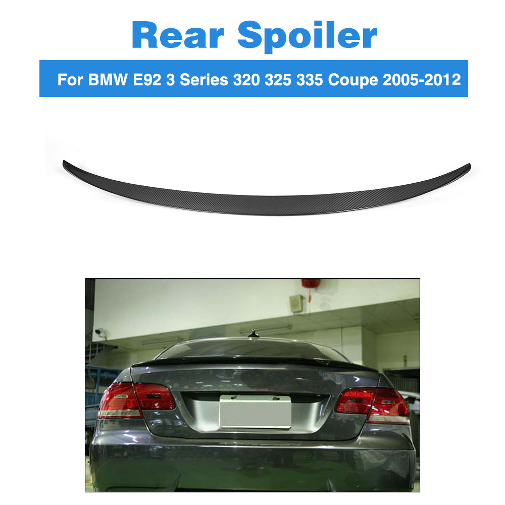 Rear Spoiler Trunk Boot Tuning Wing for BMW 3 Series E92 325i 328i 335i E92 M3 Coupe 2005-2012 Carbon Fiber Spoiler P Style for 12 16 bmw 3 series f30 4dr trunk spoiler oem painted match a83 glacier silver