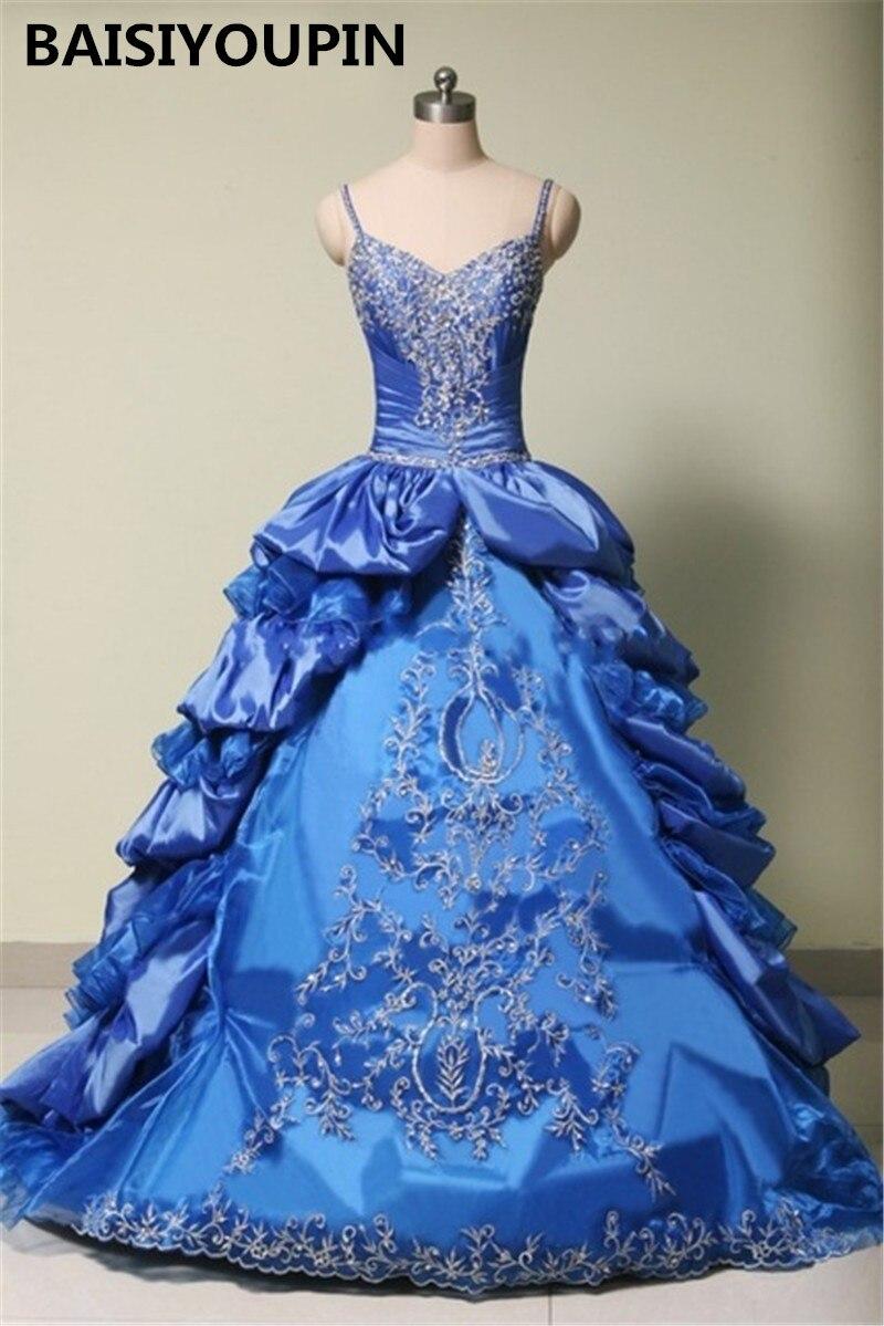 8921aeed90c8c Spaghetti Straps Royal Blue Quinceanera Dress Ball Gowns 2016 Vestido De  Festa 15 Anos Curto Pretty Sweet 16 Dresses