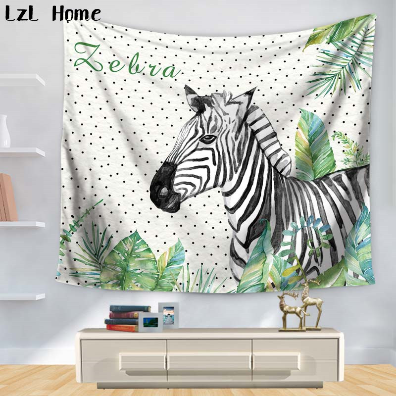 LzL Home 1ps Zebra Wildlife Tapestry Mandala Animales Wall Hanging Tapestries Beach Throw Rug Blanket Camping Tent Travel Cover