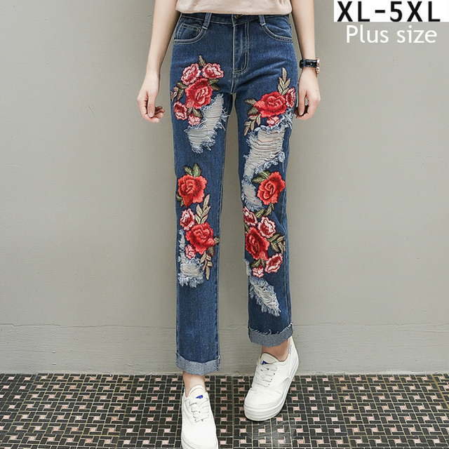 39326d7fcd2 Womens Destroyed Jeans Plus Size Loose High Waist Women Jeans Embroidered  Floral Ripped Slim Denim Pants