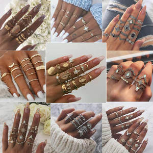 Fashion Jewelry Joint-Ring Crystal-Rings-Set Charm Crown Geometric Star Gold Vintage