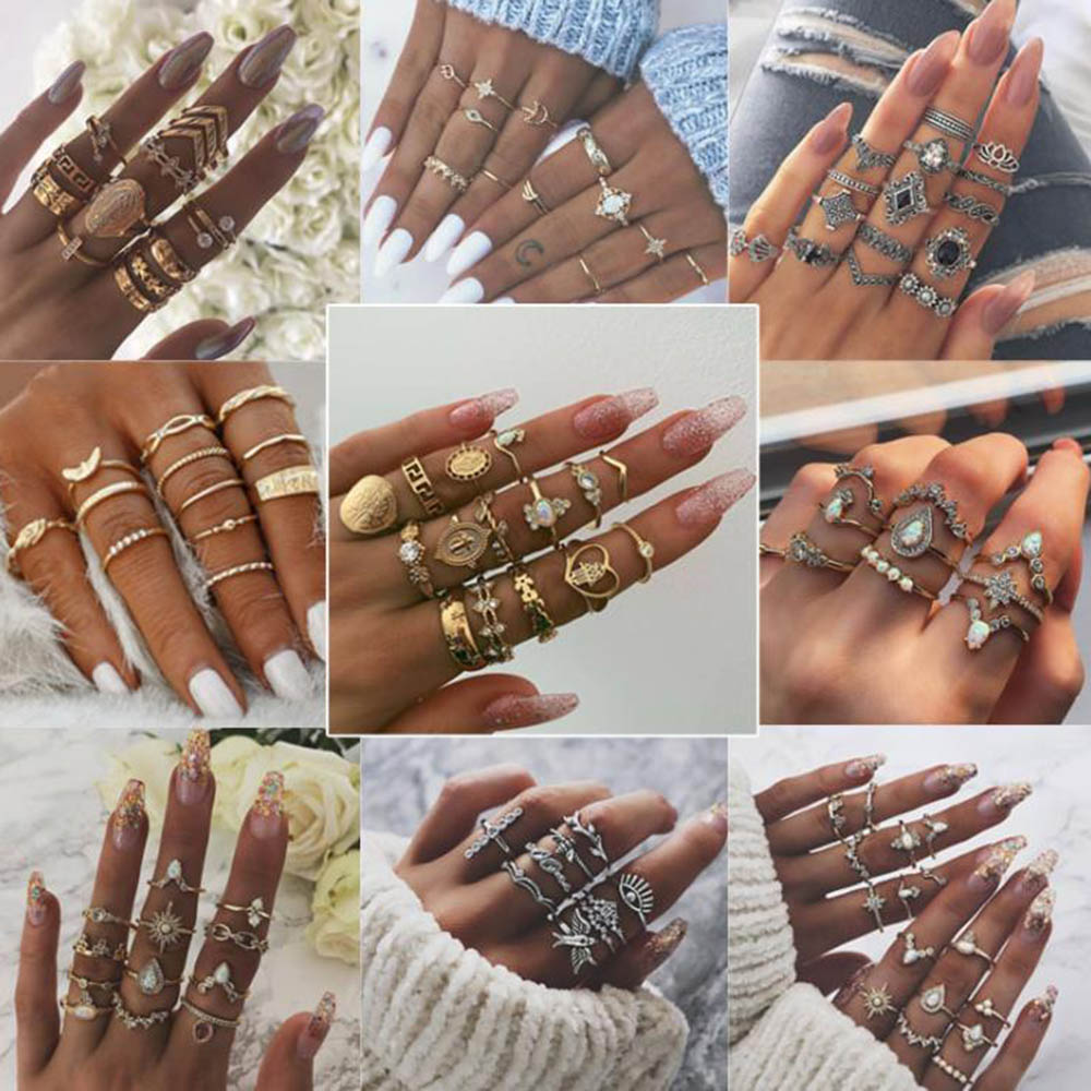 MIX Styles Bohemian Vintage Crown Water Drops Star Geometric Crystal Ring Set Women Charm Joint Ring 2019 Fashion Jewelry