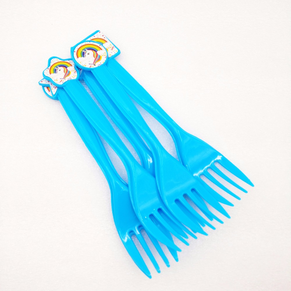 6pcs/bag Unicorn Party Supplies Kids Disposable Plastic Fork