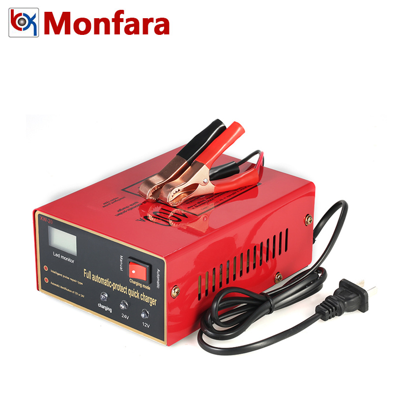 Monfara 12V 24V Full Automatic Intelligent Car Battery Charger Pulse Repair Type for Lead Acid Auto Motorcycle Truck 100AH 10A ihens5 full automatic smart fast car motorcycle battery charger 110v 220v to 12v 24v output intelligent pulse repair type 100ah