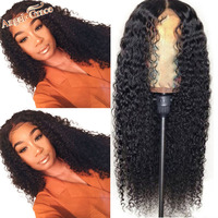 Mongolian Kinky Curly Wig For Woman Angel Grace Hair 13x4 Lace Front Human Hair Wigs Natural Black Remy Hair Wigs 10 26 inches