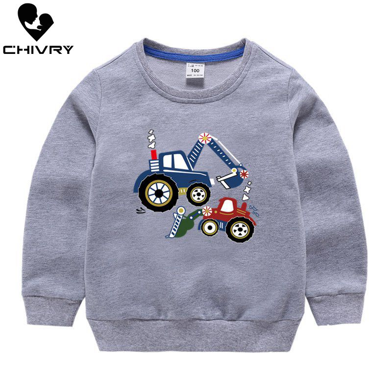 Children Hoodies Sweatshirts Boys Girl Kids Cartoon Print Cotton Pullover Tops Baby Boys Casual Autumn Clothes For 2-8 Years