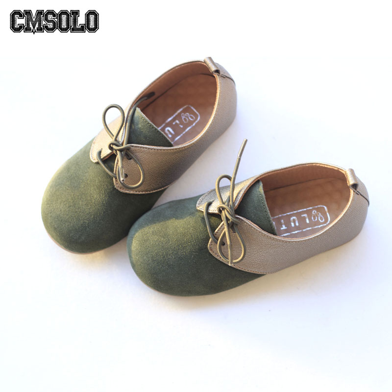 CMSOLO Children Fashion Shoes Lace-up Boys Girls Casual Shoe Spring Autumn Party School Leather Footwear Child Size 27-33 New