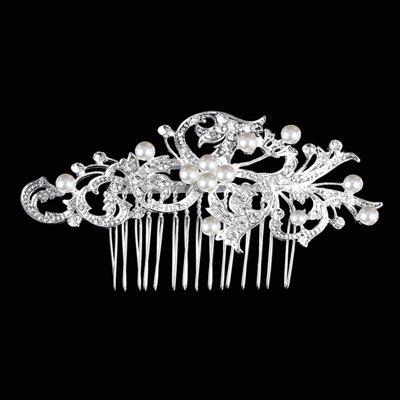 Bridal Wedding Vintage Leaf Crystal Diamante Hair Comb Slide Bridal Accessory