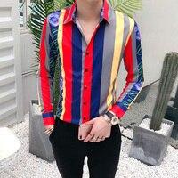 New Design Mens Dress Shirts Fahsion Korean Style Men Long Sleeve Casual Shirts Slim Fit Stripes Printed Business Shirts 3XL