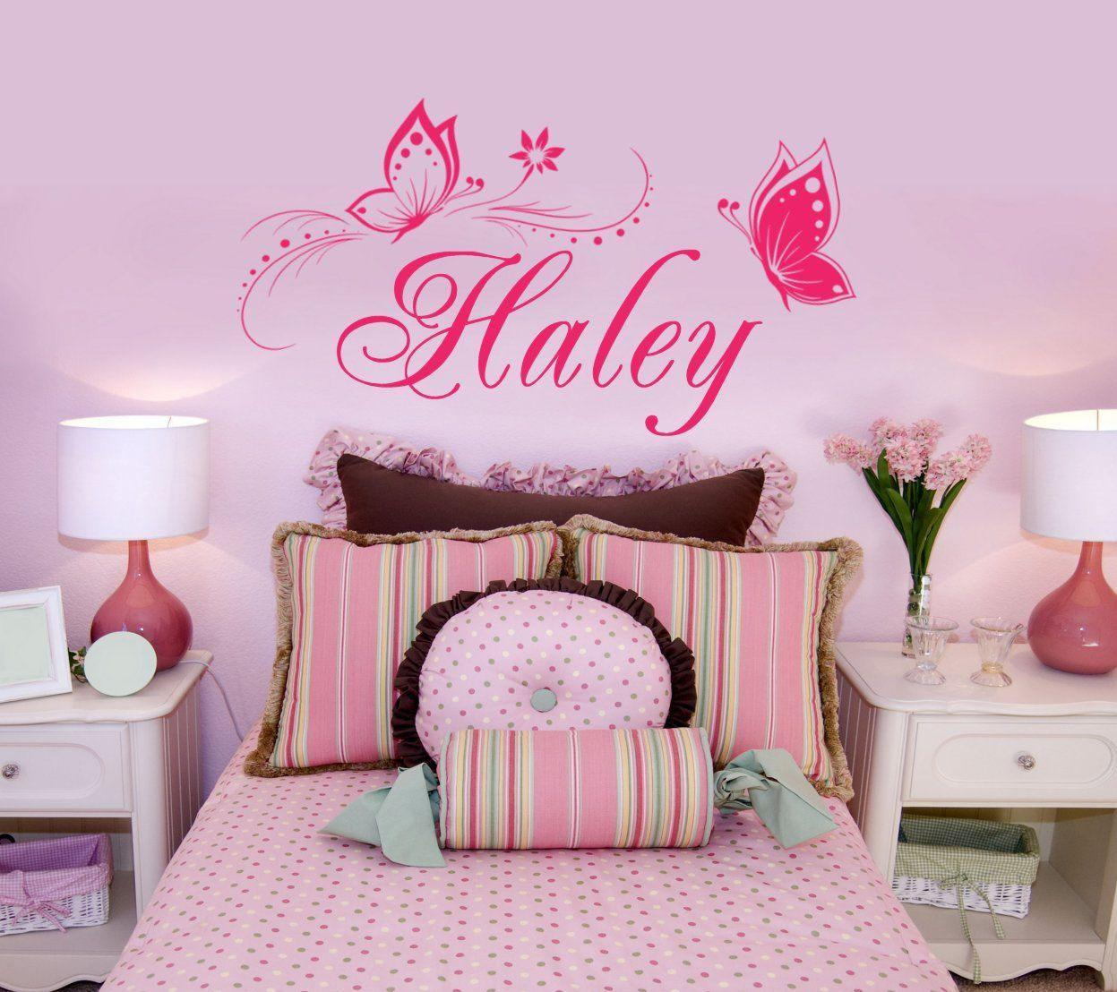 Personalized Name Butterfly wall stickers for kids room ...