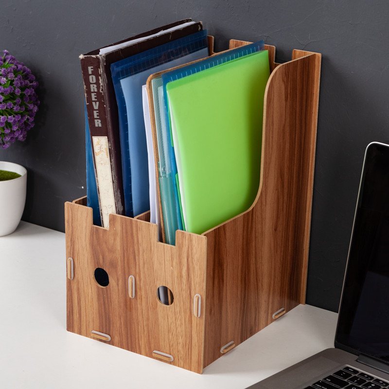 2-grid A4 Detachable Wooden Office Desktop File Book Magazine Stand Rack Holder Table Document Filing Box Organizer Bookends