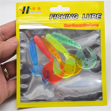 5 pcs / bag Wobbler Jigging Fishing Lure Soft Worm Shrimp 2g 6.0cm Jerk bait Fish Ocean Rock wholesale Free Shipping