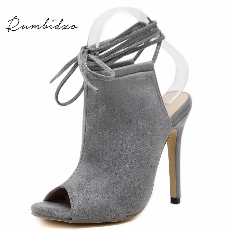 Rumbidzo Women Pumps 2017 Fashion Peep Toe High Heels Shoes Woman Ankle Strap Thin Heel Gladiator