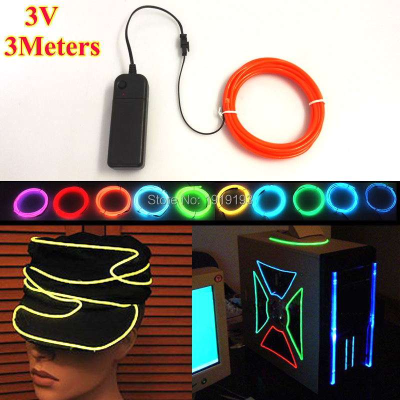 3.2mm 3Meters Battery Powered Flashing holiday Decoration Flexible Neon <font><b>Light</b></font> EL Wire Rope Tube 10 <font><b>Color</b></font> selected