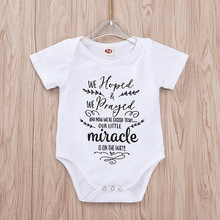 Tiny Cottons Summer 2019 White Onesie Hoped We Prayed Miracle Letter Print Newborn Bodysuits 12 Month Baby Girl Clothes