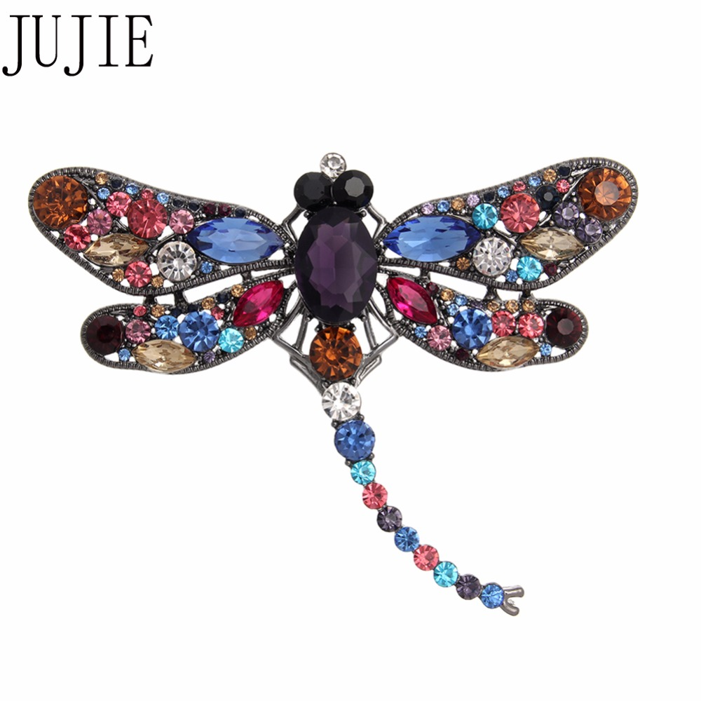 JUJIE Creativity Crystal Dragonfly Brooches 2018 Women Clothing Scarf Pins Animal Vintage Corsage Fashion Jewelry Dropshipping