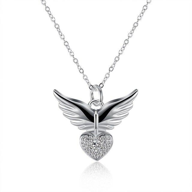 436ca0241211 Couleur argent Pendentif Coeur Collier avec zircon belle ange forme bijoux  de mode pour les femmes