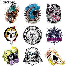 Nicediy Heat Transfer Vinyl Sticker Patch Iron On Transfers Clothing Cool Shark Skull Patches Thermal Press Applique