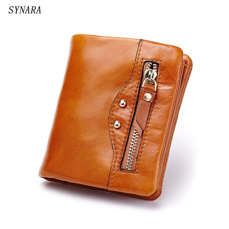 Oil Wax Leather Wallet Female Wallets with Zipper Coin Bag Genuine Leather Women Wallets Small Short Purses for Female free shipping hot selling big rocker guitar electric guitar the electric guitar es335 jazz piano big rocker guitar