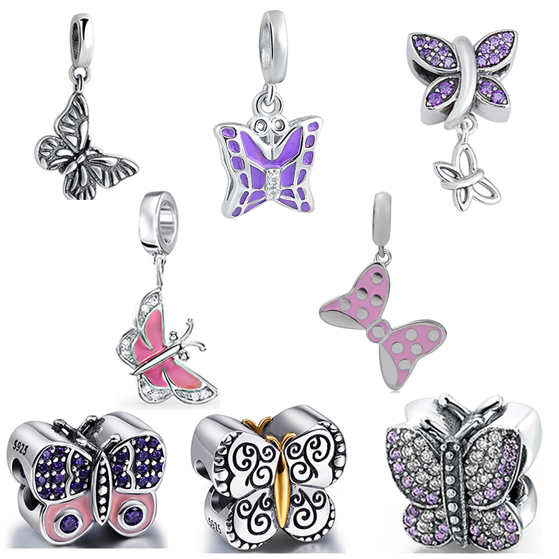 StrollGirl 925 silver butterfly collection beads with CZ diy color enamel pandora charms fit authentic bracelet jewelry making