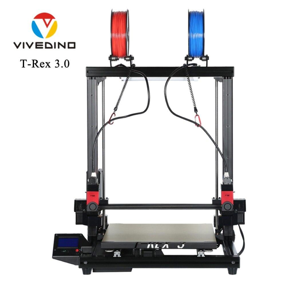 VIVEDINO T-Rex 3.0 Grand Format Multi-fonction IDEX 3D Imprimante avec 400x400x500mm construire Taille
