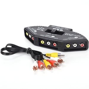 Image 2 - Tonbux 3 דרך אודיו וידאו AV RCA ספליטר שחור מתג בורר תיבת ספליטר עם/3 RCA כבל