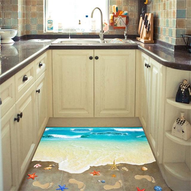 Creative Beach Landscape Removable Decals Self adhesive Bathroom ...