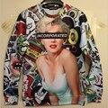 2016 Nueva Otoño invierno capucha de las mujeres/hombres sudaderas con capucha de alta calidad Sexy Monroe impresión 3d sudadera hip hop sudadera con capucha 3d casual pullover