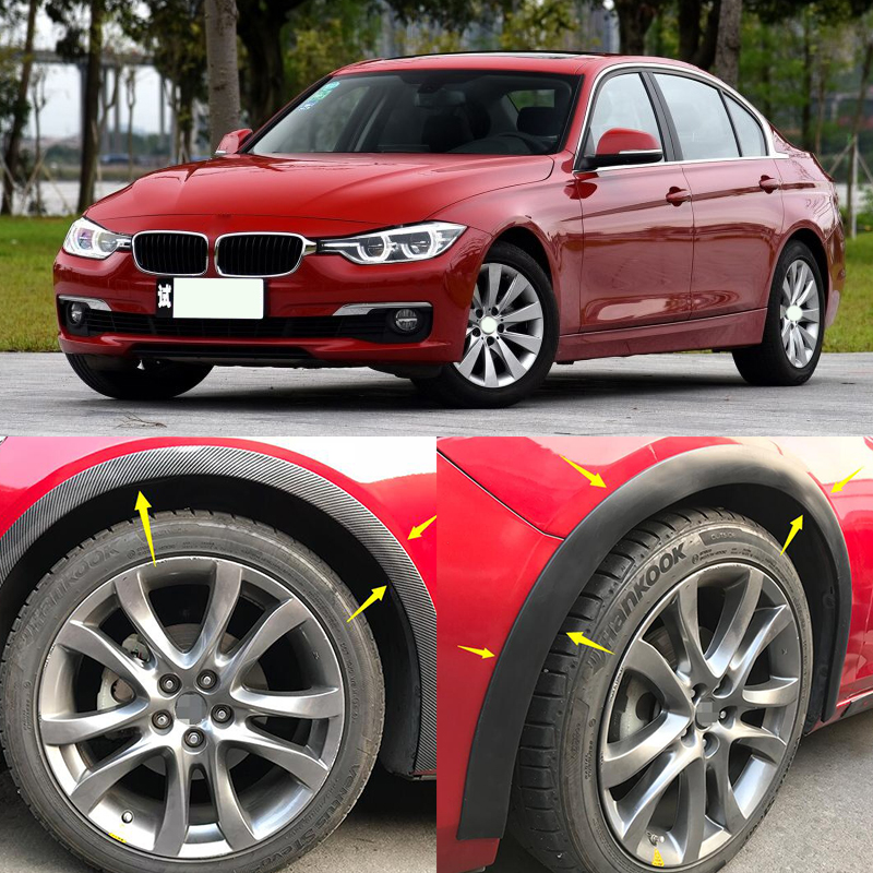 fit for audi bmw 4pcs Universal Car Truck Carbon Fiber Rubber Wheel Eyebrow Protector Lip Sticker Trim Fender Flare Anti scratch