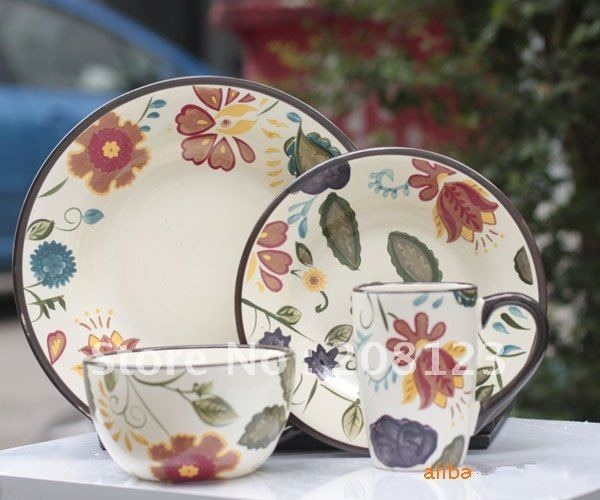 Colored Drawing Hand Painting Ceramic Plate Dish Set For Dining Table Kitchen Decoration