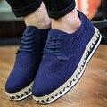 AD AcolorDay Brogue Estilo Moda Primavera Otoño Zapatos para Hombres Suede Solid Azul Hombres Zapatos Casuales Aumento de la Altura Zapatos Masculinos