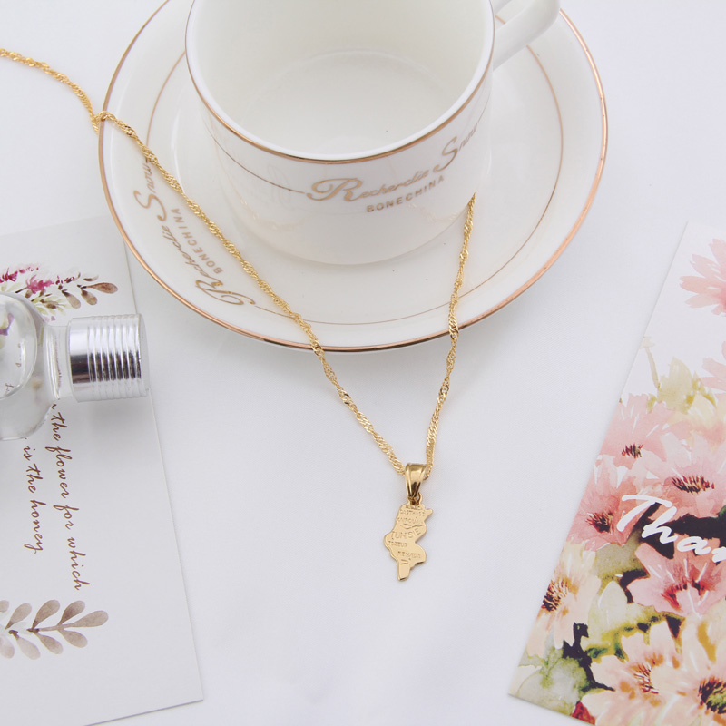 Shamty Tunisia Map Fashion Necklaces Pendants Jewelry Pure Gold