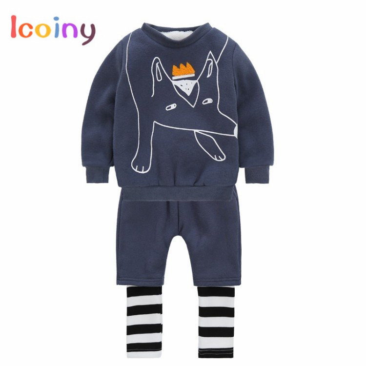 Children Clothes Sets 2018 Toddler Cartoon Tops + Striped Pants Long Sleeve Tee Outfits Baby Boys Girls Clothing Sets 1 2 3 4 years cute baby girl clothes sets for children autumn long sleeve rabbit jacket striped pants toddler girls baby suit