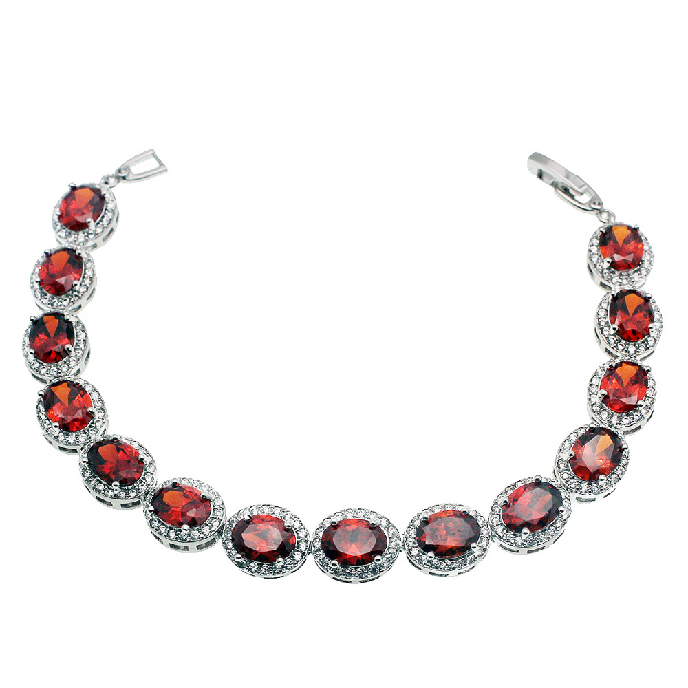 Tennis Charm Bracelet: Hermosa Jewelry Charm Red Ellipse Tennis Bracelet 925