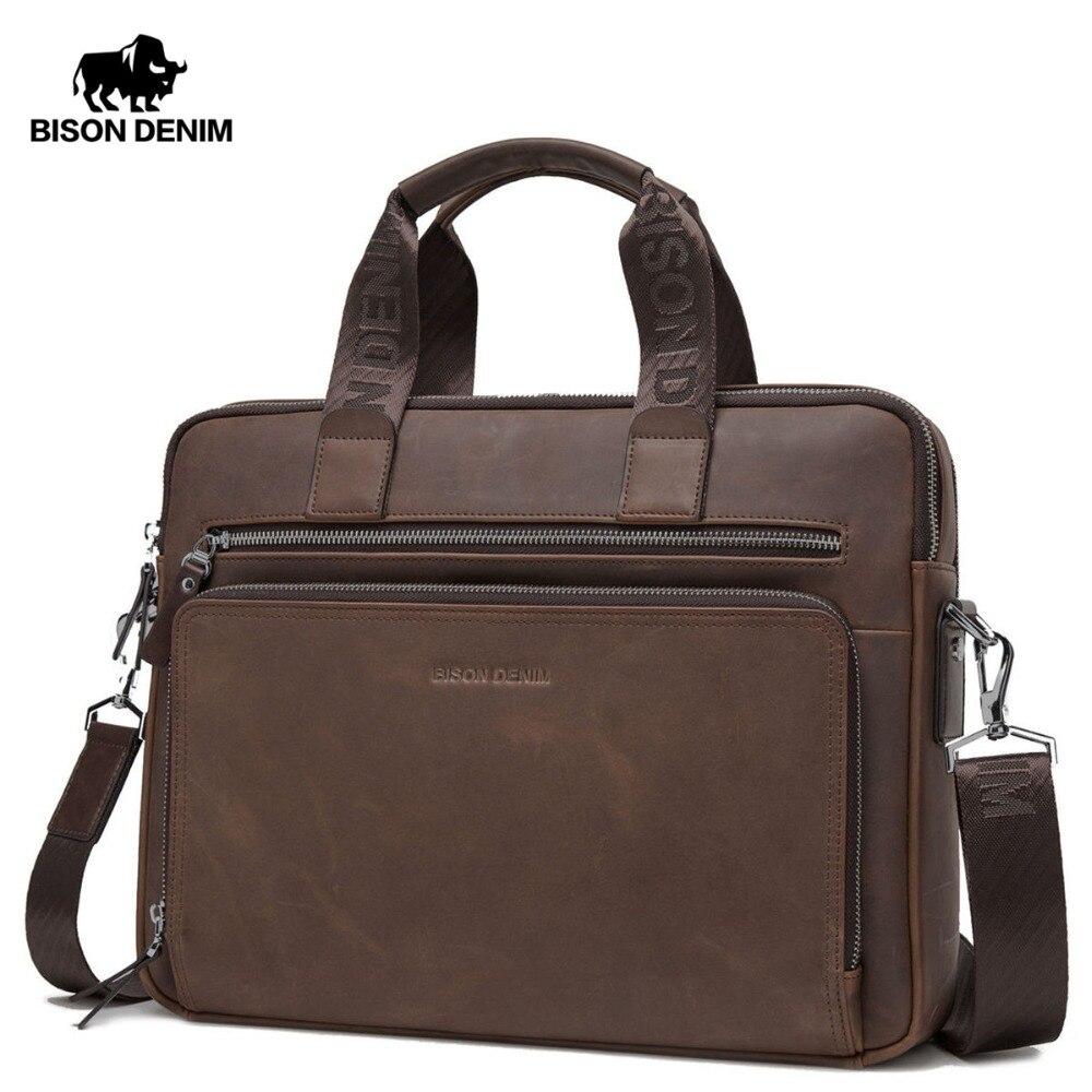 a6332f76e69e US $74.25 55% OFF BISON DENIM Brand Men's Briefcase Satchel Bags Genuine  leather 14