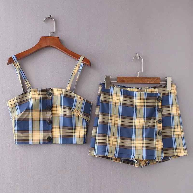 6ce52a35ee Detail Feedback Questions about 2019 Summer New Arrival Fashion 2 Piece Set  Women Plaid Sling Vest + Irregular Skirt Shorts Set Buttons Decorated Free  ...