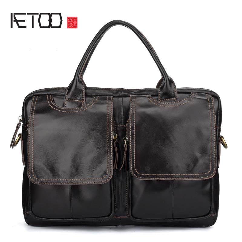 AETOO Cowhide Leather Genuine Leather 14''laptop Bag Handbags Cowhide Men Crossbody Bag Men's Business Leather Briefcase
