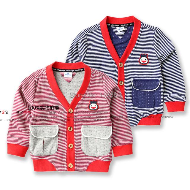 Nueva primavera 2014 niños otoño prendas de vestir exteriores de la ropa del bebé chaquetas sudadera niño cardigan fresco rayas bebé capa del muchacho