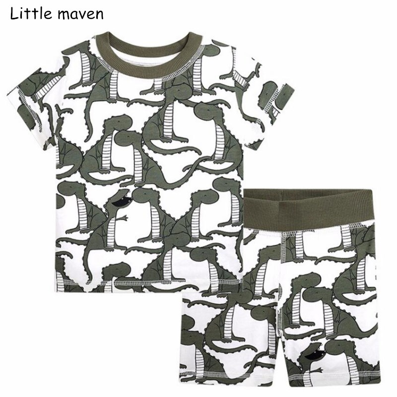 Little maven brand children 2018 summer baby boys clothes cotton childrens sets dinosaur t shirt + shorts 20206