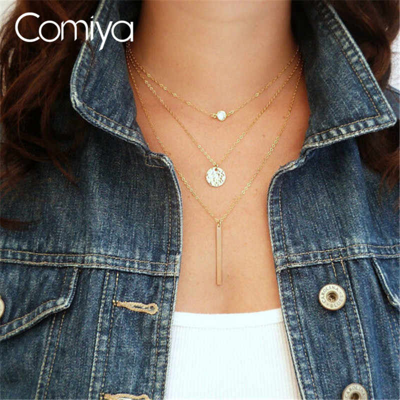Comiya Thin New Plated Simple Chain Necklace 3 Layer Long Pendant Necklaces Sexy Women Jewelry Gifts For Mom Collar
