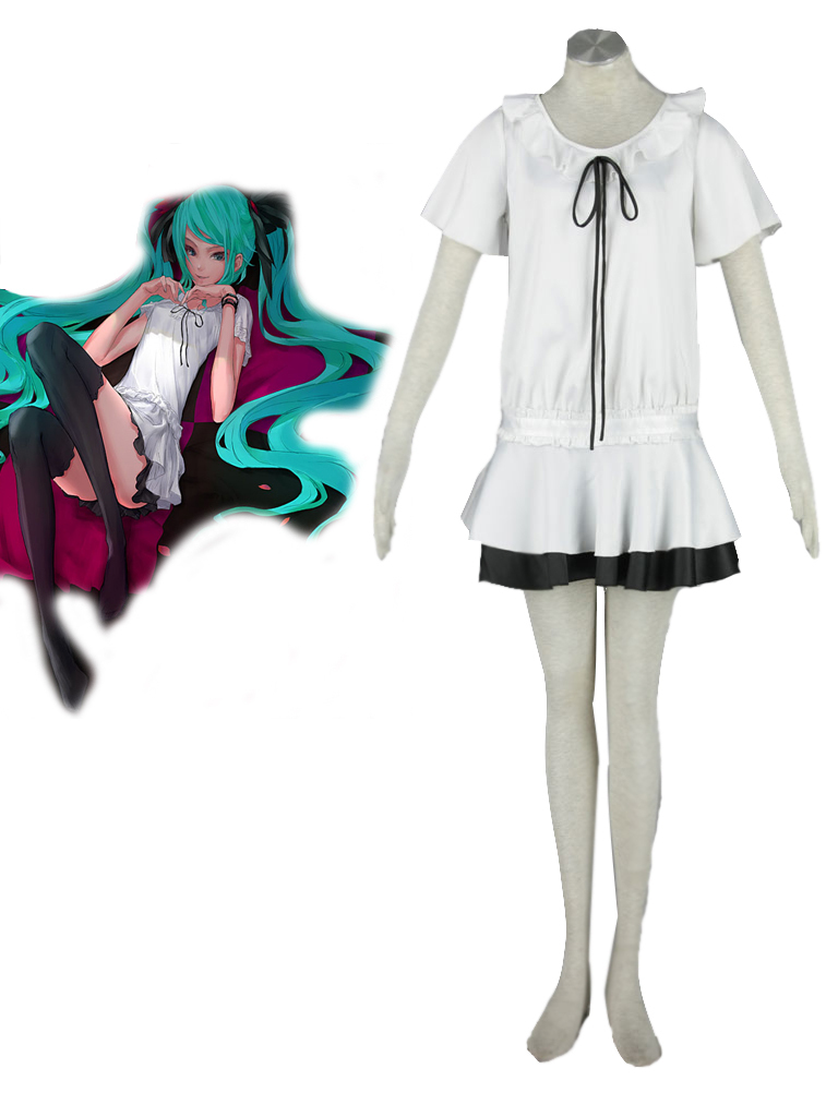Free Shipping Vocaloid Hatsune Miku WORLD IS MINE White Dress font b Anime b font font