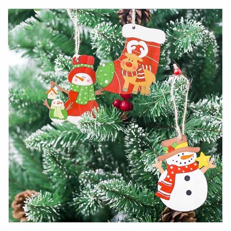 لطيف بابا نويل القوس جرس عيد الميلاد شجرة زخرفة الديكور خشبية ثلج الأيائل شنقا قلادة عيد الميلاد زينة للمنزل