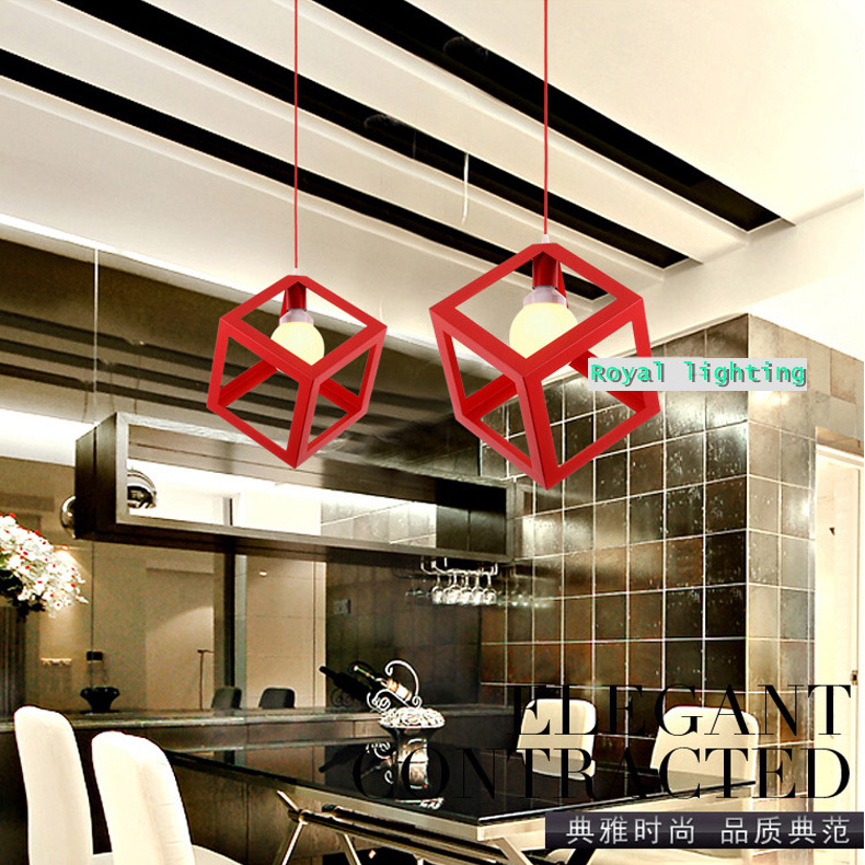 ФОТО  restaurant single cube lamp vintage bar light hanging lamp Multi color dining room pendant lamps coffee shop pendant lights